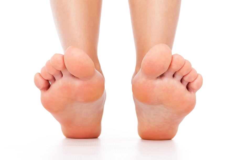 Foot stepping legs isolated on a white background