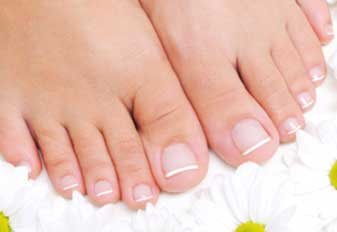 Beautiful and well-groomed female feet stock photo